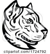 Poster, Art Print Of Head Of A Spanish Bulldog Or Spanish Alano Mascot Black And White