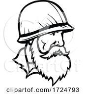 American Vietnam War Soldier Wearing Combat Helmet With Full Beard Mascot Retro Black And White