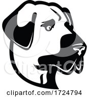 Head Of An Anatolian Shepherd Dog Or Kangal Side View Mascot Black And White