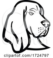 Poster, Art Print Of Head Of A Basset Hound Or Scent Hound Side View Mascot Retro Black And White