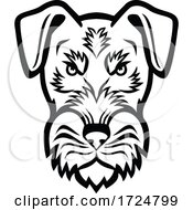 Head Of Angry Jagdterrier Hunting Terrier Or German Hunt Terrier Mascot Black And White