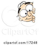 Clipart Picture Of A Male Caucasian Office Nerd Business Man Mascot Cartoon Character Curiously Peeking Around A Corner by Toons4Biz