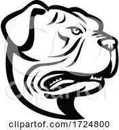 Head Of Leavitt Bulldog Or Old English Bulldog Side View Mascot Retro Black And White