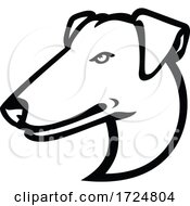 Head Of Smooth Fox Terrier Mascot Side View Mascot Retro Black And White