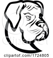 Head Of Boxer Dog German Boxer Or Deutscher Boxer Mascot Black And White