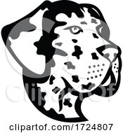 Poster, Art Print Of Head Of Great Dane Deutsche Dogge German Mastiff Or Dogue Allemand Mascot Side View Mascot Retro Black And White