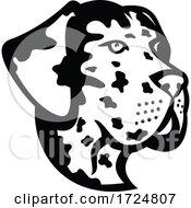 Head Of Great Dane Deutsche Dogge German Mastiff Or Dogue Allemand Mascot Side View Mascot Retro Black And White