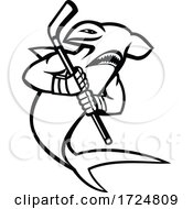 Hammerhead Shark With Ice Hockey Stick Mascot Black And White
