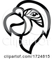 Poster, Art Print Of Head Of Macaw Parrot Mascot Side View Black And White