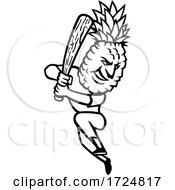 Pineapple Baseball Player Batting With Bat Mascot Black And White