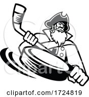Swashbuckler Or Pirate With Ice Hockey Stick And Puck Sports Mascot Black And White