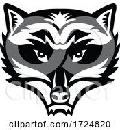 Head Of An Angry North American Raccoon Front View Mascot Black And White