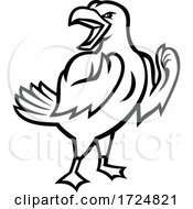 Poster, Art Print Of Angry Yellow-Legged Gull Or Seagull Preparing For Fist Fight Mascot Black And White