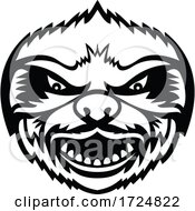 Head Of Angry Sloth Front View Mascot Retro Black And White