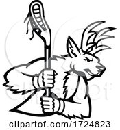 Red Deer Stag Or Buck Wielding A Lacrosse Stick Side View Mascot Black And White