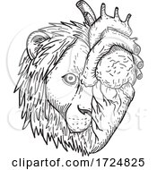 Lion Hearted Head Of Half Lion And Half Human Heart Black And White Drawing