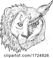 Head Of Half Lion And Half Great Horned Owl Tiger Owl Or Hoot Owl Front View Black And White Drawing