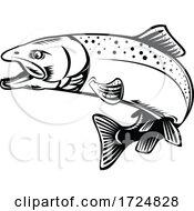10/09/2020 - Chinook Salmon Oncorhynchus Tshawytscha Quinnat Salmon King Salmon Or Chrome Hog Retro Woodcut Black And White