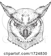 10/09/2020 - Head Of Angry Great Horned Owl Tiger Owl Or Hoot Owl Front Black And White Drawing