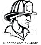 10/09/2020 - Head Of American Firefighter Fireman Looking Side Mascot Black And White
