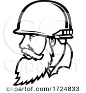 Vietnam War American Soldier Wearing Combat Helmet With Full Beard Mascot Black And White