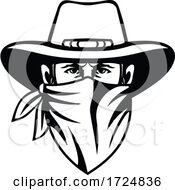 Cowboy Bandit Outlaw Highwayman Or Bank Robber Wearing Face Mask Front View Mascot Black And White