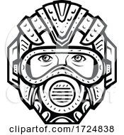 Futuristic Face Mask Face Covering Or Space Helmet Protection From Pandemic Infection Front View Retro Black And White
