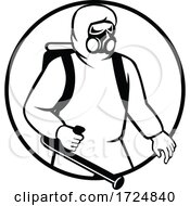 Poster, Art Print Of Industrial Worker Essential Worker Or Pest Exterminator Wearing Respiratory Protective Equipment Spraying Disinfectant Black And White