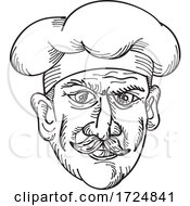 Head Of Italian Chef Cook Baker Or Food Worker Wearing Moustache Front View Drawing Retro Black And White