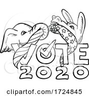 Poster, Art Print Of Republican Elephant And Democratic Donkey In Tug Of War Usa Flag Vote 2020 Cartoon Black And White