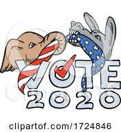 Poster, Art Print Of Republican Elephant And Democratic Donkey In Tug Of War Usa Flag Vote 2020 Cartoon