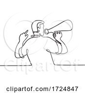 Male Activist Or Protester With Bullhorn Megaphone Loudhailer Or Loudspeaker Continuous Line Drawing