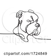 Poster, Art Print Of Bully Dog Breed American Pit Bull Terrier English Bulldog Bull Mastiff Or Bull Terrier Continuous Line Drawing