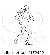 Female Marathon Runner Running Side View Continuous Line Drawing