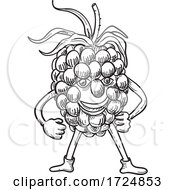 Cartoon Happy Blackberry Fruit Standing While Smiling Front View Black And White