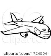 Jumbo Jet Plane Airliner Flying Wearing Face Mask Mascot Black And White