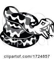 Aggressive Coiled Snake Viper Or Python Mascot Retro Black And White