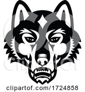 Head Of Gray Wolf Or Timber Wolf Front View Sports Mascot Black And White