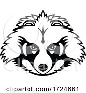 Head Of A Japanese Raccoon Dog Or Tanuki Front View Mascot Black And White