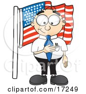 Patriotic Male Caucasian Office Nerd Business Man Mascot Cartoon Character Pledging Allegiance To An American Flag