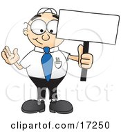 Clipart Picture Of A Male Caucasian Office Nerd Business Man Mascot Cartoon Character Holding A Blank Sign by Toons4Biz