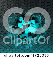 10/12/2020 - 3d Futuristic Glowing Blob Of Blue Light Against Hexagon Background