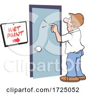 Man At A Door With A Wet Paint Sign