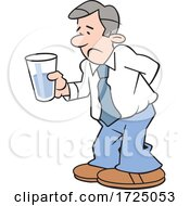 Cartoon Pessimistic Business Man Holding A Glass Half Empty