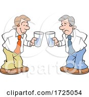 Cartoon Optimistic And Pessimistic Business Men Holding Glasses Half Full And Empty