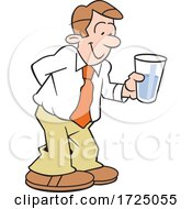 Cartoon Optimistic Business Man Holding A Glass Half Full