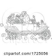 Santa Driving An Antique Car