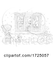 Poster, Art Print Of Girl Walking Her Puppy In The Snow By A Boy With His Cat In A Window