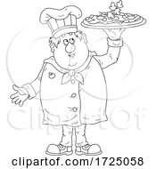 Black And White Chubby Male Chef Holding Up A Pizza