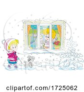 Poster, Art Print Of Girl Walking Her Dog In The Snow By A Boy With His Cat In A Window
